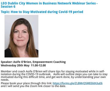 LEO Dublin City Women in Business network Webinar Series